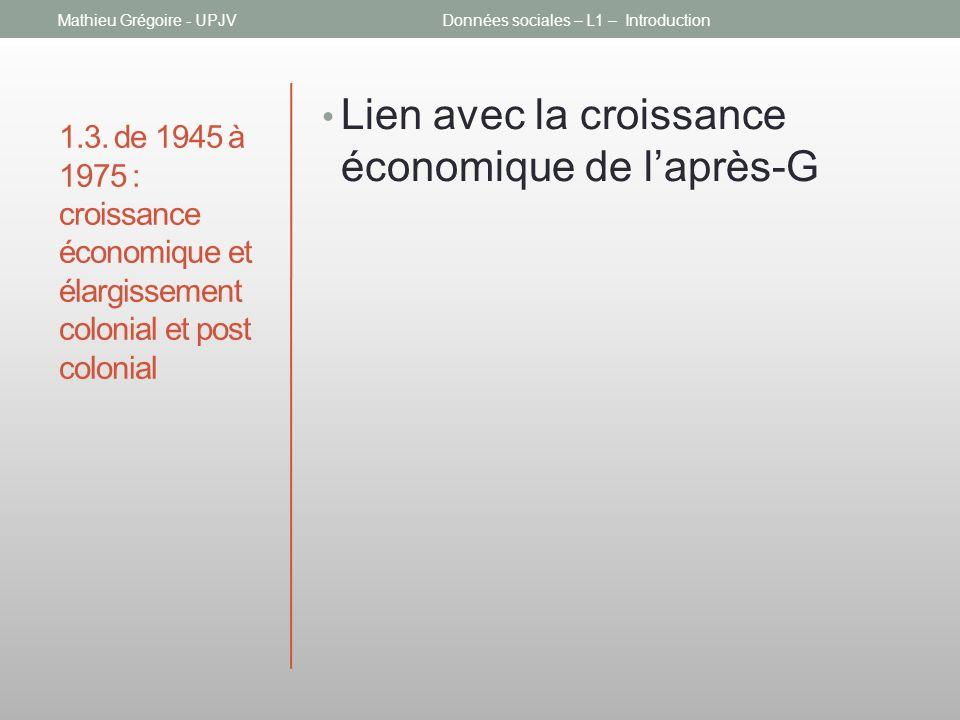 1.3. de 1945 à 1975 : croissance économique et élargissement colonial et post colonial Lien avec la croissance économique de laprès-G Mathieu Grégoire