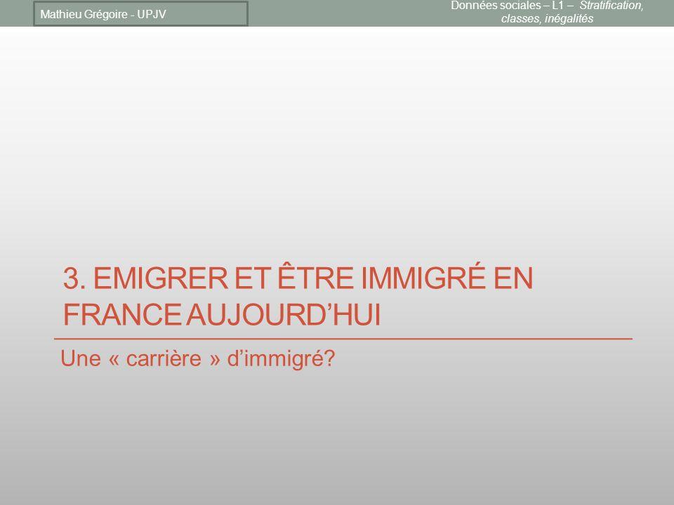 3.EMIGRER ET ÊTRE IMMIGRÉ EN FRANCE AUJOURDHUI Une « carrière » dimmigré.