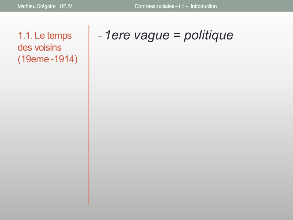 1.1. Le temps des voisins (19eme -1914) - 1ere vague = politique Mathieu Grégoire - UPJVDonnées sociales – L1 – Introduction