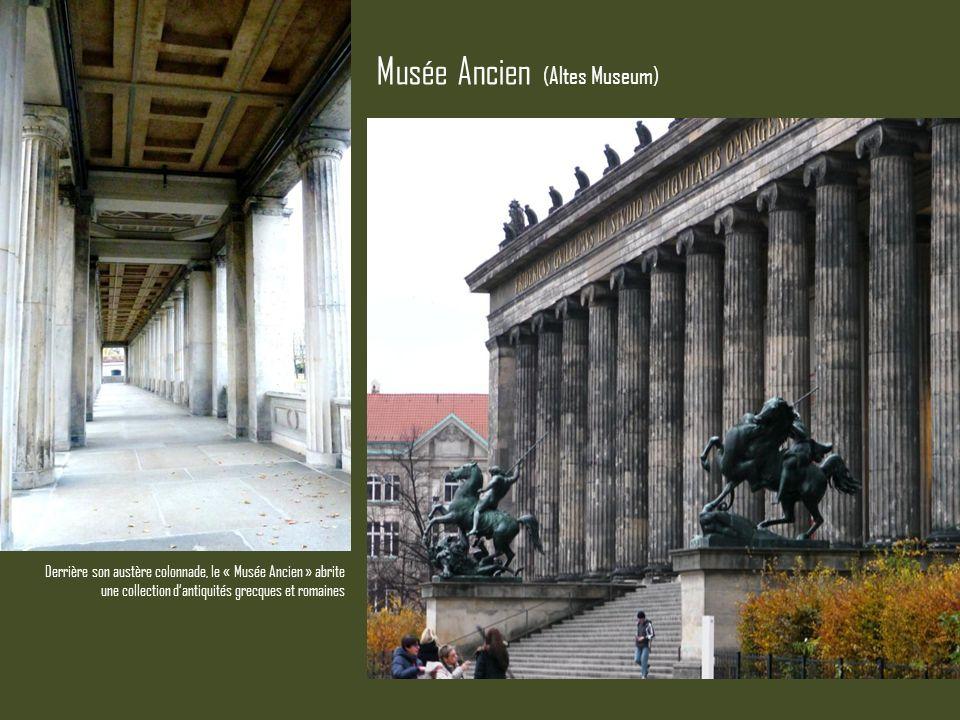 Derrière son austère colonnade, le « Musée Ancien » abrite une collection dantiquités grecques et romaines Musée Ancien (Altes Museum)
