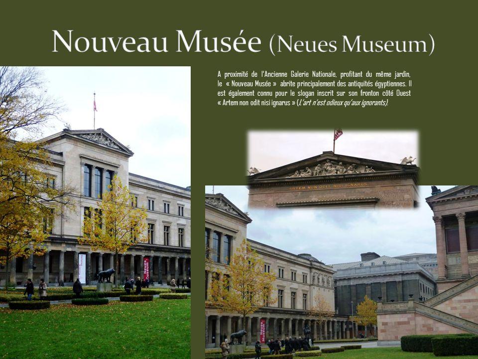 A proximité de lAncienne Galerie Nationale, profitant du même jardin, le « Nouveau Musée » abrite principalement des antiquités égyptiennes.