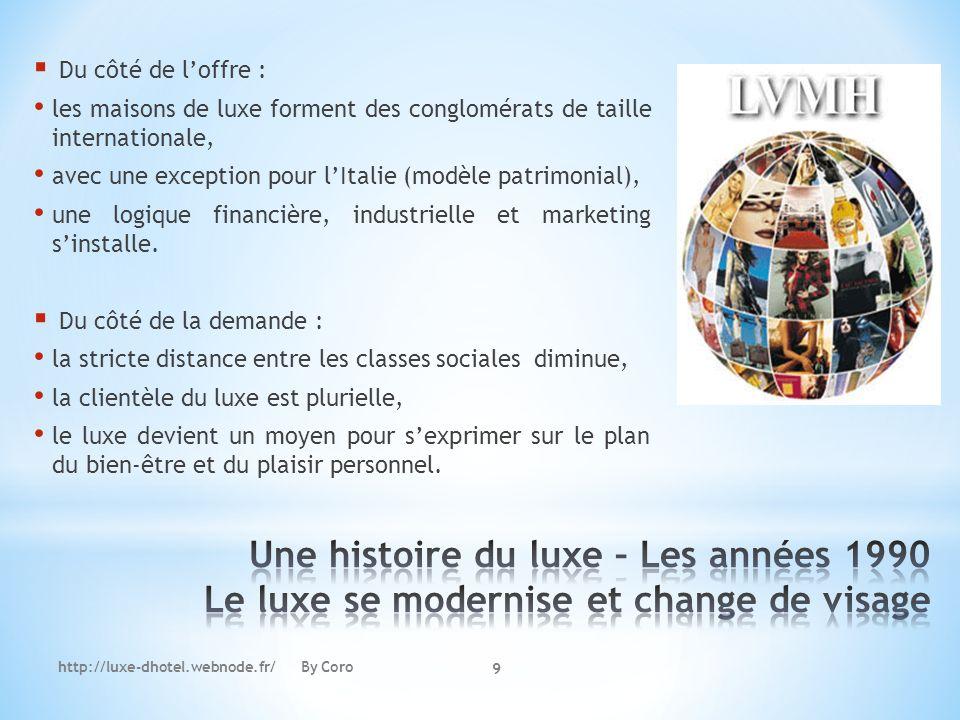 http://luxe-dhotel.webnode.fr/ By Coro 9 Du côté de loffre : les maisons de luxe forment des conglomérats de taille internationale, avec une exception