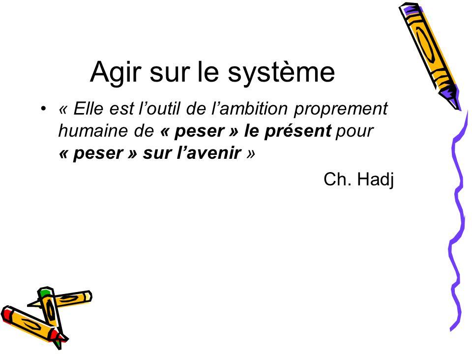 Agir sur le système « Elle est loutil de lambition proprement humaine de « peser » le présent pour « peser » sur lavenir » Ch. Hadj
