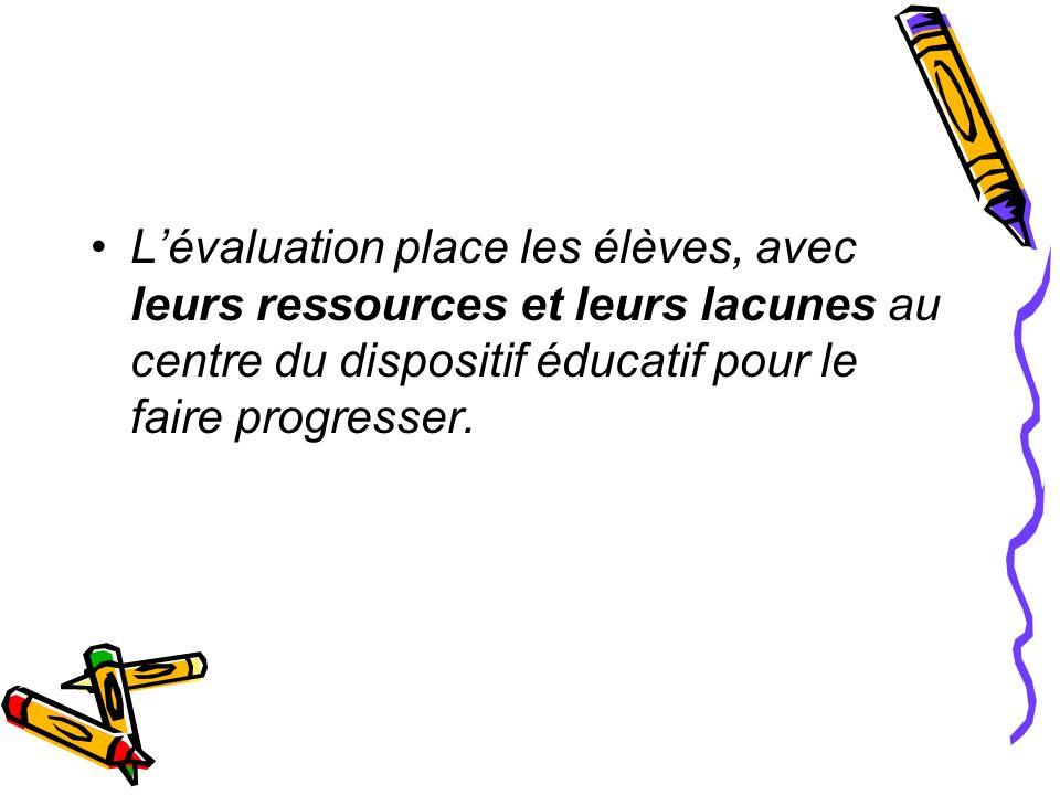 Lévaluation place les élèves, avec leurs ressources et leurs lacunes au centre du dispositif éducatif pour le faire progresser.