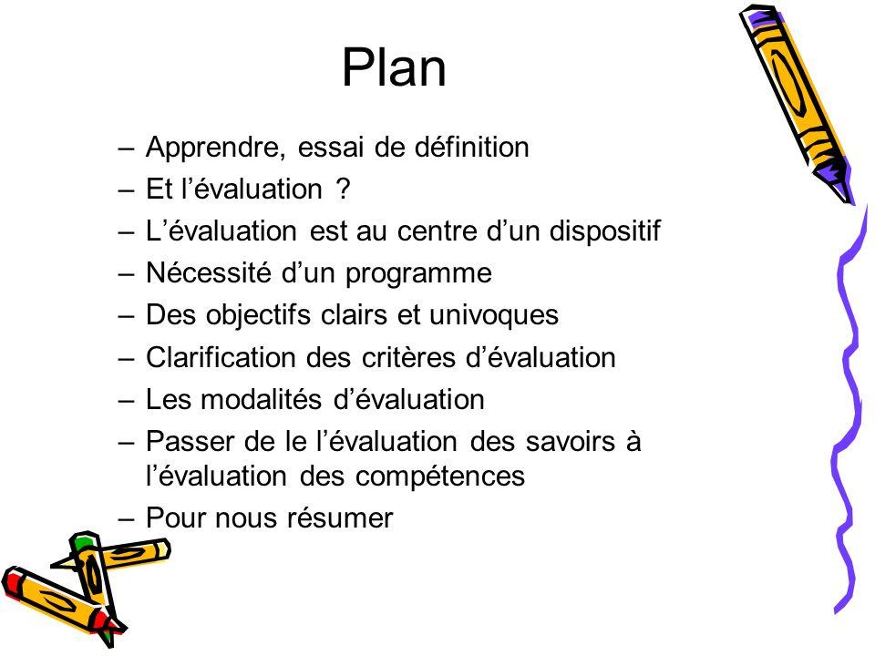 Plan –Apprendre, essai de définition –Et lévaluation ? –Lévaluation est au centre dun dispositif –Nécessité dun programme –Des objectifs clairs et uni