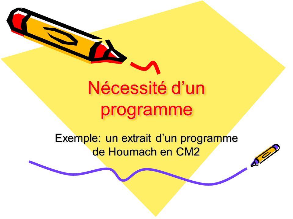 Nécessité dun programme Exemple: un extrait dun programme de Houmach en CM2