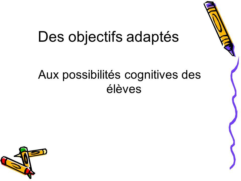 Des objectifs adaptés Aux possibilités cognitives des élèves