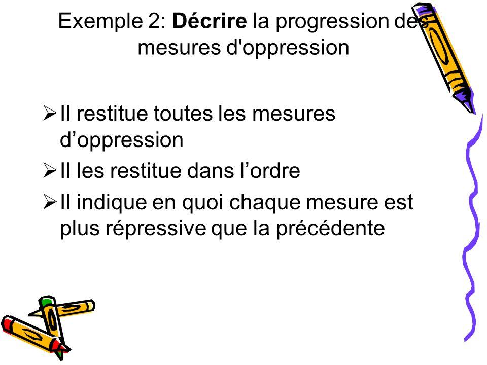 Exemple 2: Décrire la progression des mesures d'oppression Il restitue toutes les mesures doppression Il les restitue dans lordre Il indique en quoi c