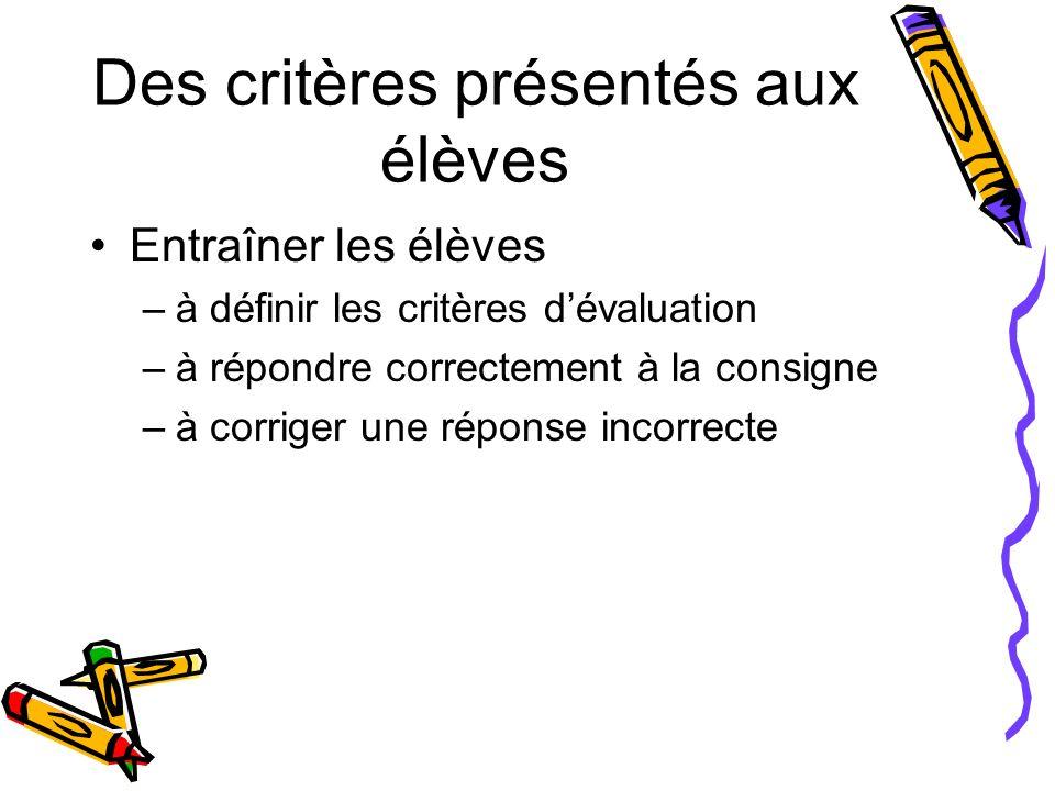 Des critères présentés aux élèves Entraîner les élèves –à définir les critères dévaluation –à répondre correctement à la consigne –à corriger une répo