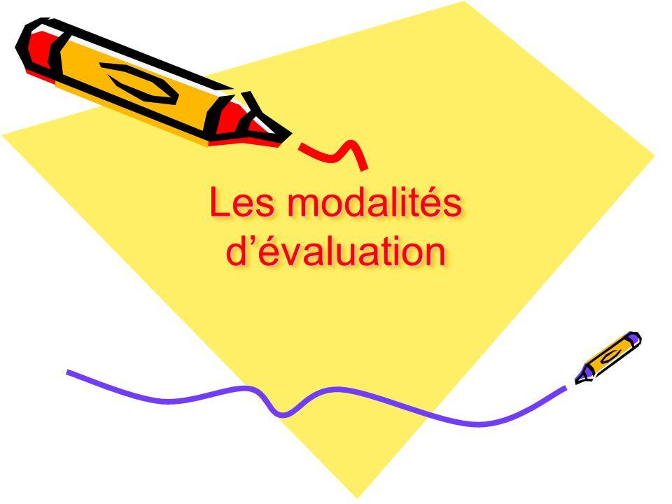 Les modalités dévaluation