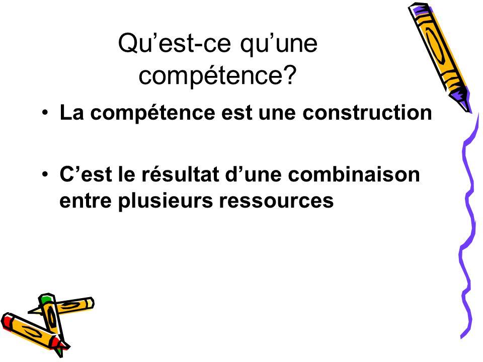 Quest-ce quune compétence? La compétence est une construction Cest le résultat dune combinaison entre plusieurs ressources