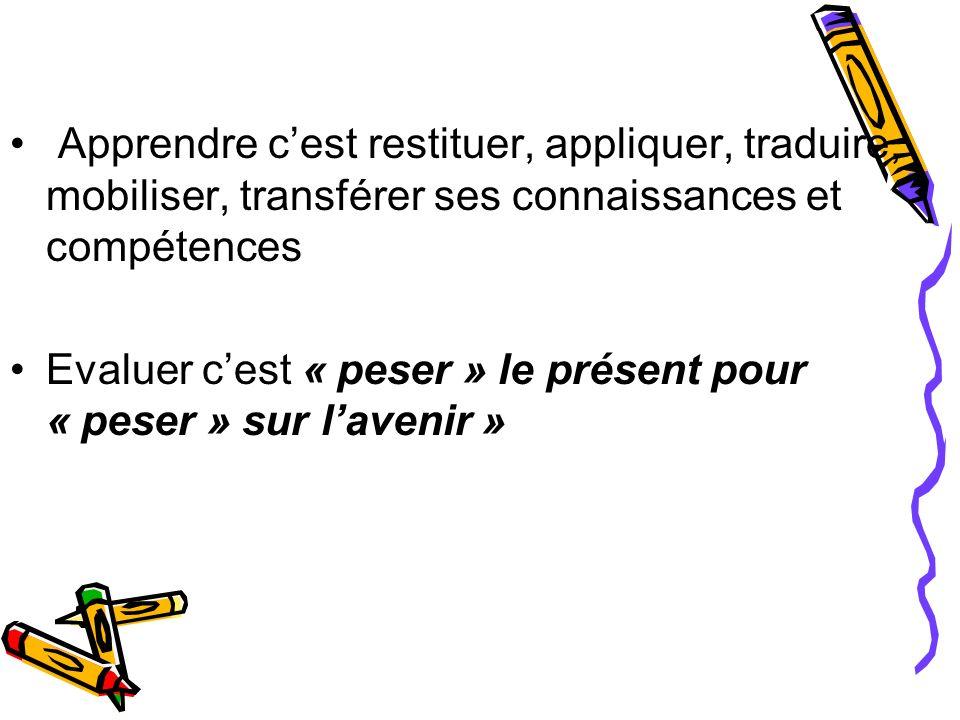 Apprendre cest restituer, appliquer, traduire, mobiliser, transférer ses connaissances et compétences Evaluer cest « peser » le présent pour « peser »
