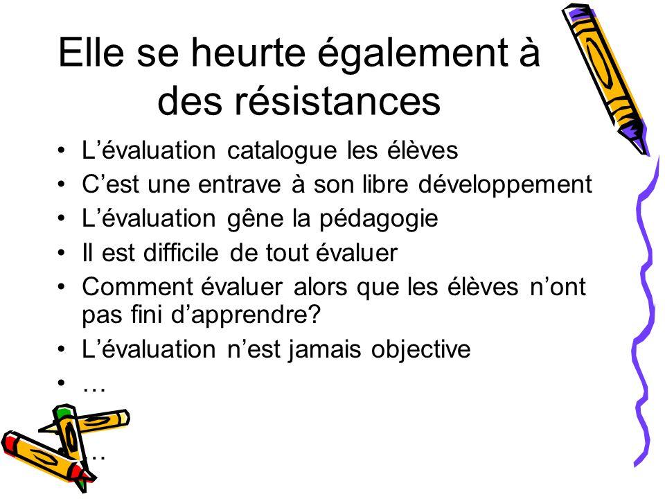 Elle se heurte également à des résistances Lévaluation catalogue les élèves Cest une entrave à son libre développement Lévaluation gêne la pédagogie I