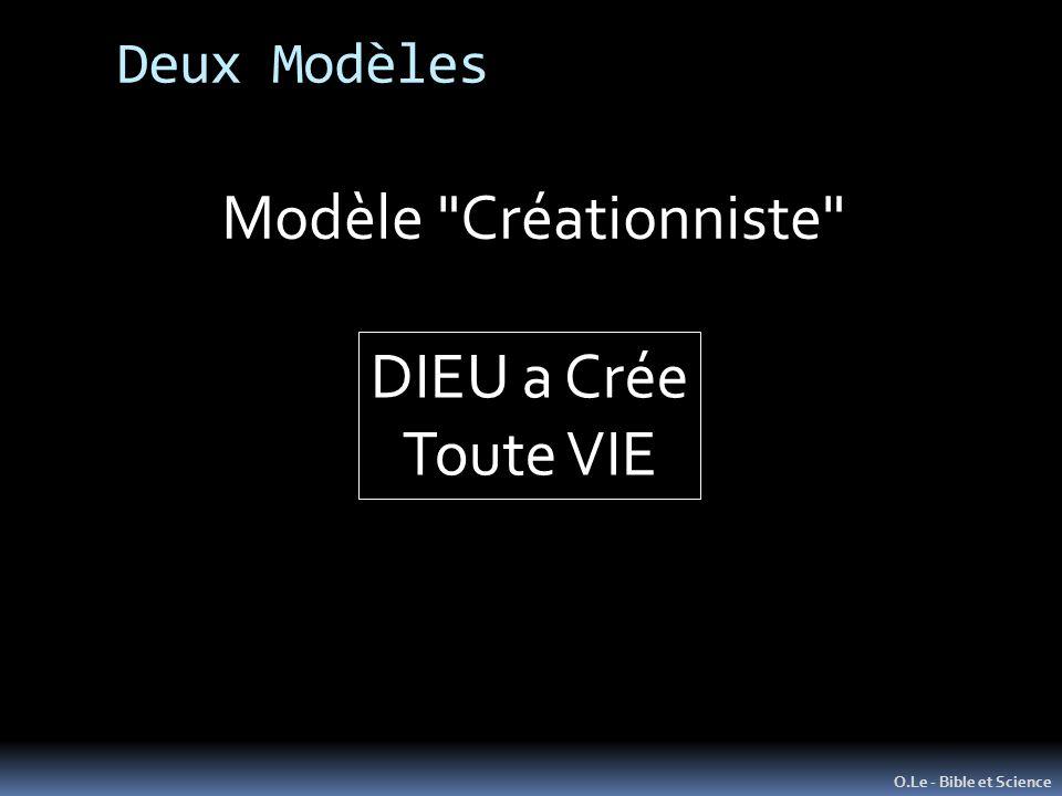 O.Le - Bible et Science Modèle Créationniste DIEU a Crée Toute VIE Deux Modèles