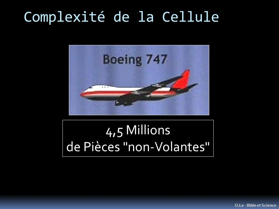 Complexité de la Cellule O.Le - Bible et Science 4,5 Millions de Pièces non-Volantes