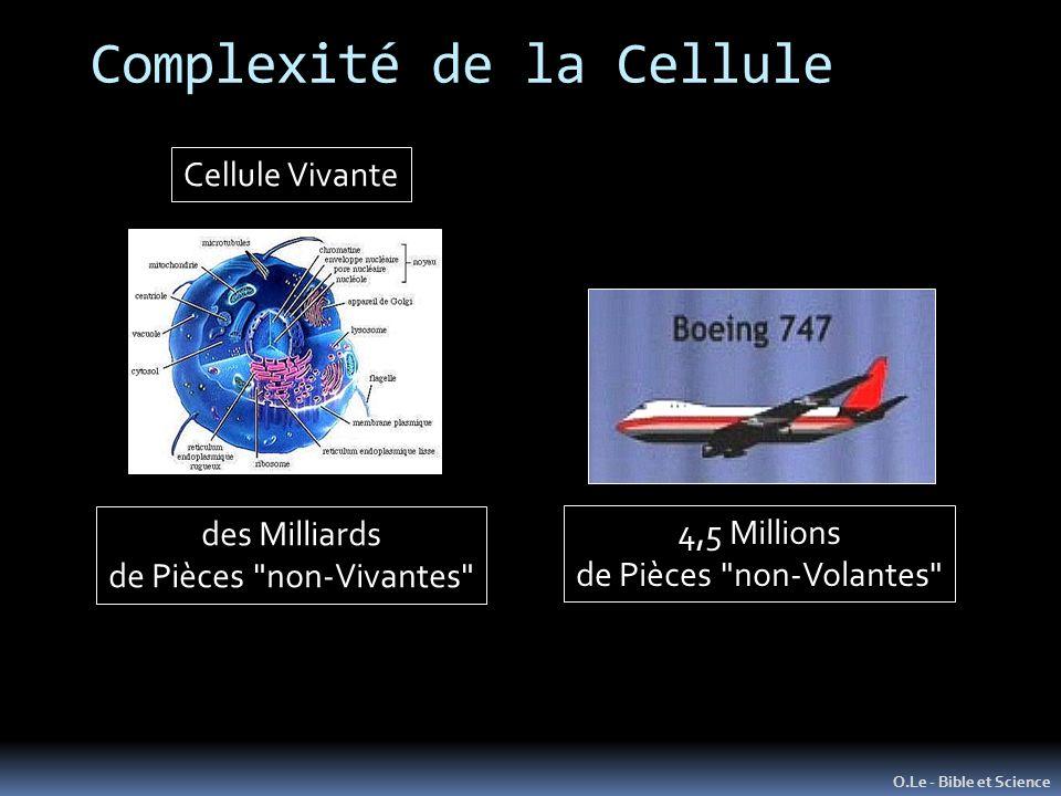 Complexité de la Cellule O.Le - Bible et Science 4,5 Millions de Pièces non-Volantes des Milliards de Pièces non-Vivantes Cellule Vivante