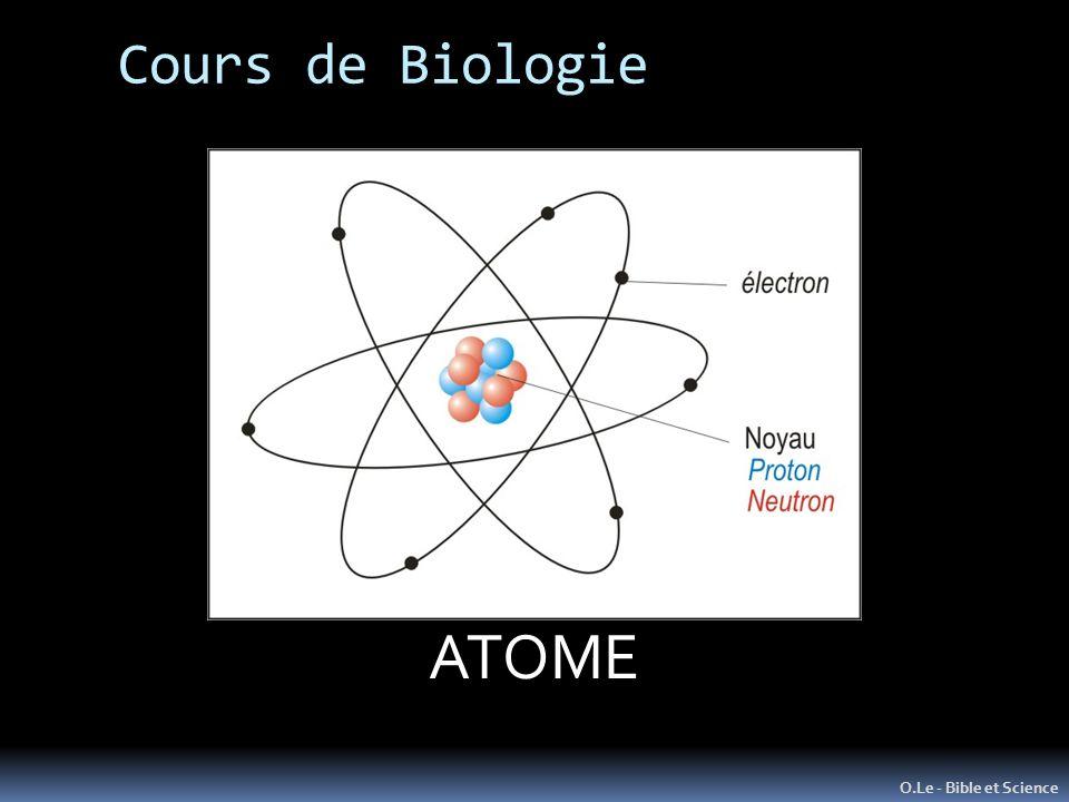 Cours de Biologie O.Le - Bible et Science L'ATOME Unité de Matière de base ATOME