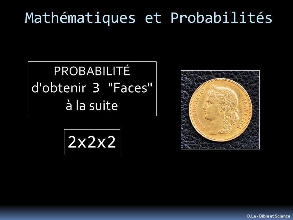 Mathématiques et Probabilités O.Le - Bible et Science PROBABILITÉ d obtenir 3 Faces à la suite 2x2x2