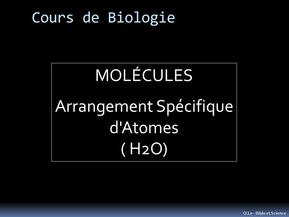 Cours de Biologie O.Le - Bible et Science MOLÉCULES Arrangement Spécifique d'Atomes ( H2O)
