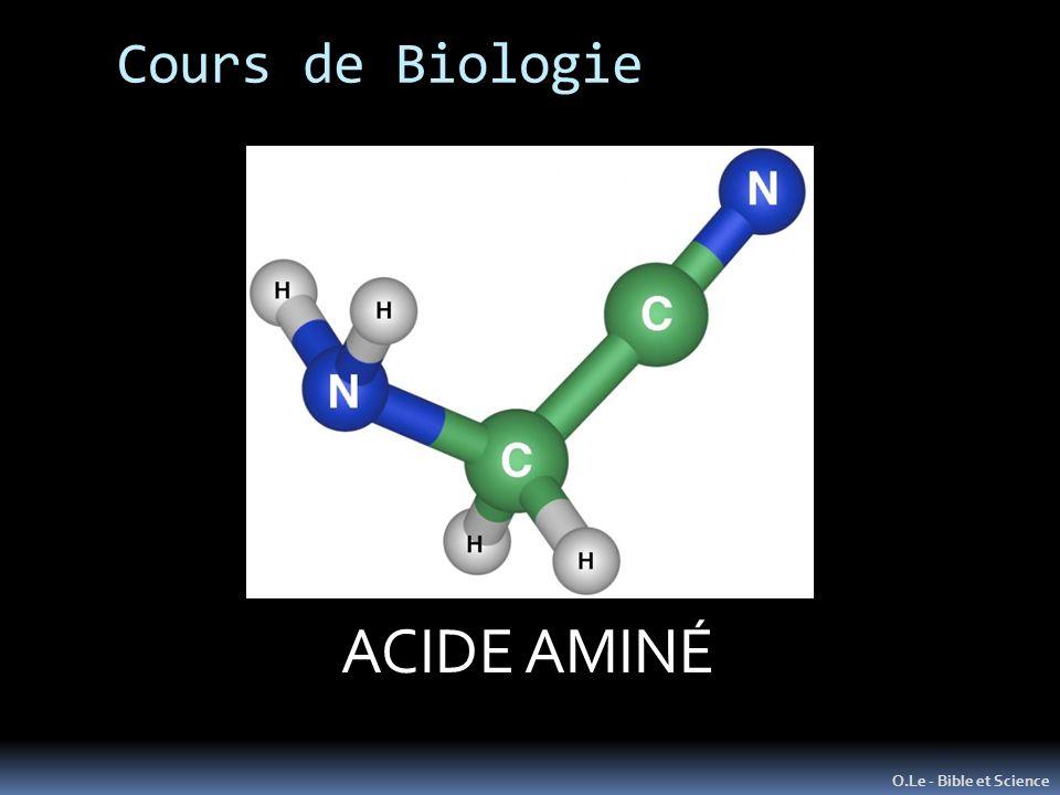 Cours de Biologie O.Le - Bible et Science L ATOME Unité de Matière de base ACIDE AMINÉ