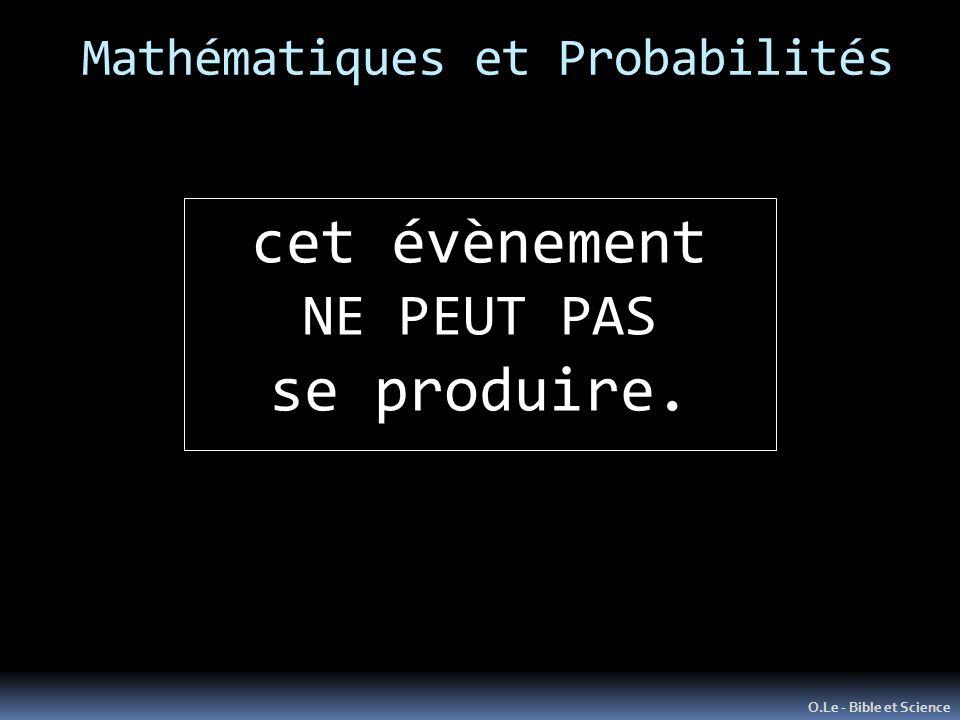 Mathématiques et Probabilités O.Le - Bible et Science cet évènement NE PEUT PAS se produire.