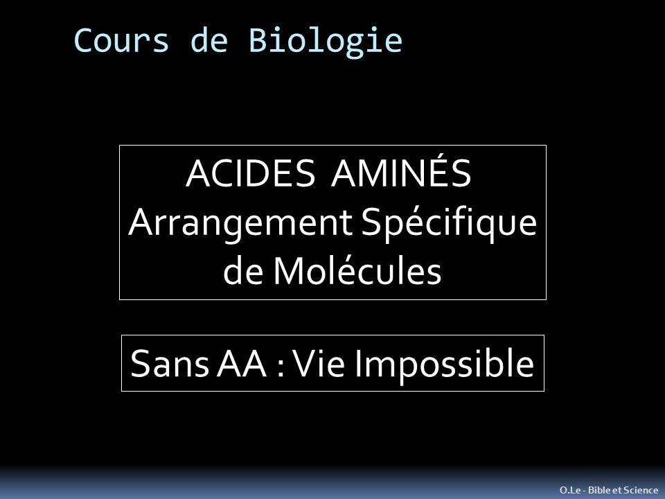 Cours de Biologie O.Le - Bible et Science ACIDES AMINÉS Arrangement Spécifique de Molécules Sans AA : Vie Impossible