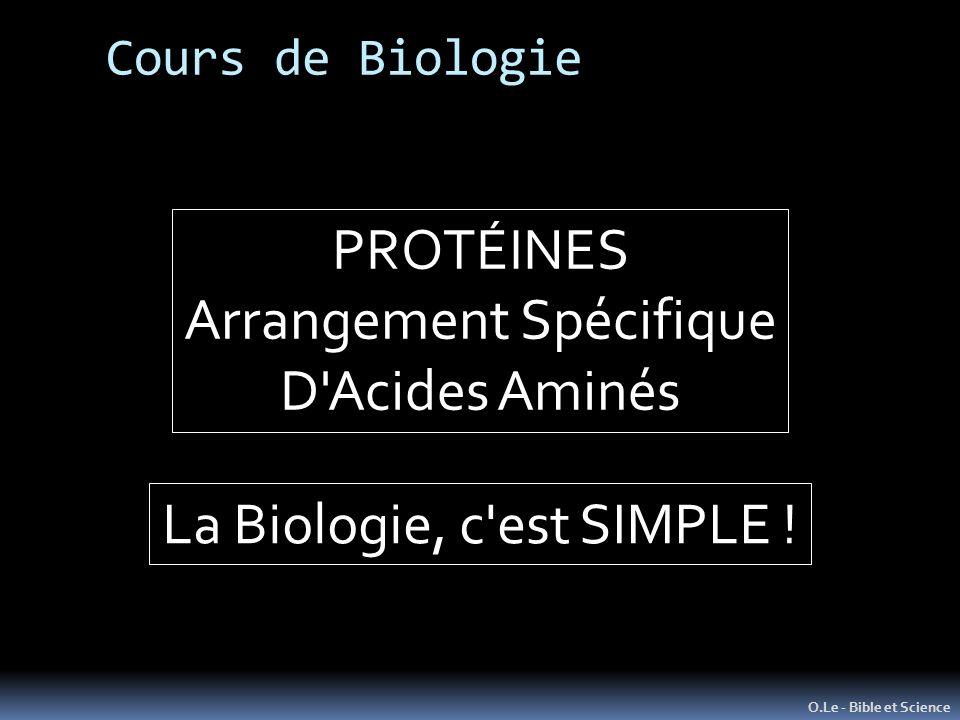 Cours de Biologie O.Le - Bible et Science PROTÉINES Arrangement Spécifique D'Acides Aminés La Biologie, c'est SIMPLE !