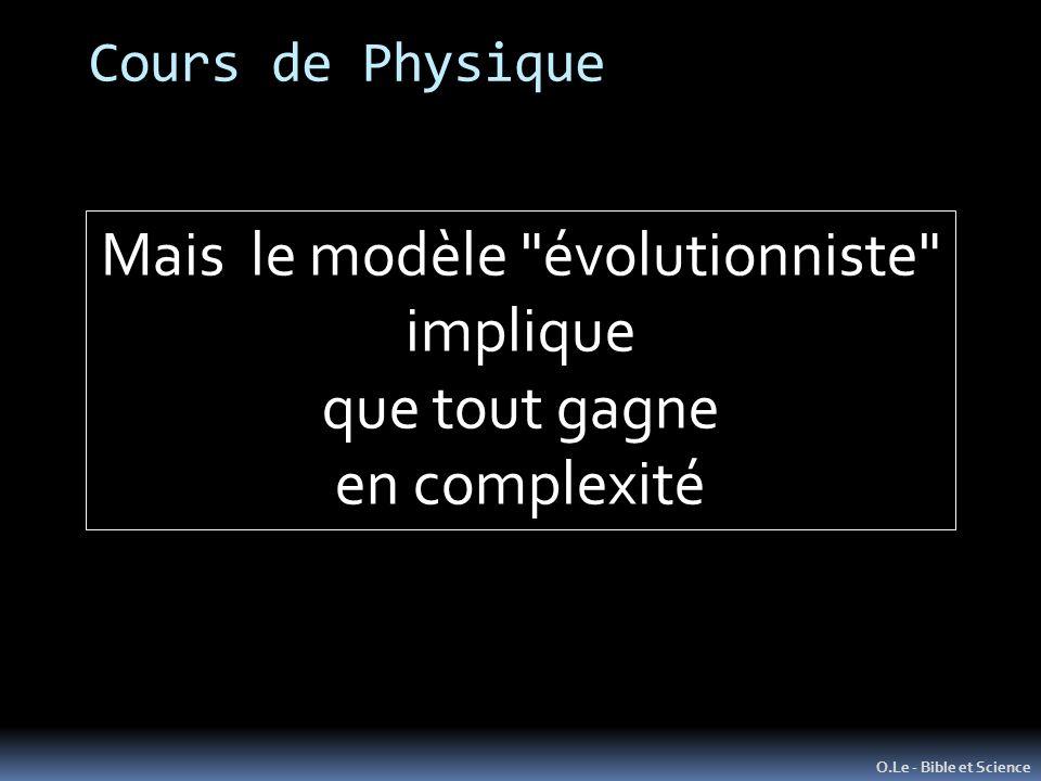 Cours de Physique O.Le - Bible et Science Mais le modèle évolutionniste implique que tout gagne en complexité