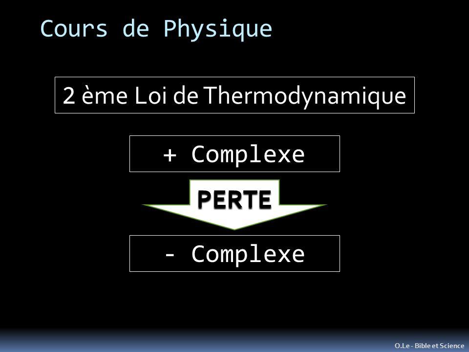 Cours de Physique O.Le - Bible et Science 2 ème Loi de Thermodynamique + Complexe - Complexe PERTE