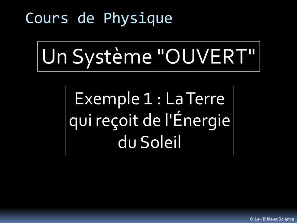 Cours de Physique O.Le - Bible et Science Un Système OUVERT Exemple 1 : La Terre qui reçoit de l Énergie du Soleil