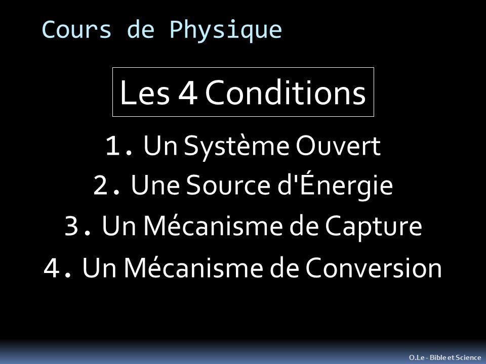 Cours de Physique O.Le - Bible et Science 1. Un Système Ouvert Les 4 Conditions 2. Une Source d'Énergie 3. Un Mécanisme de Capture 4. Un Mécanisme de