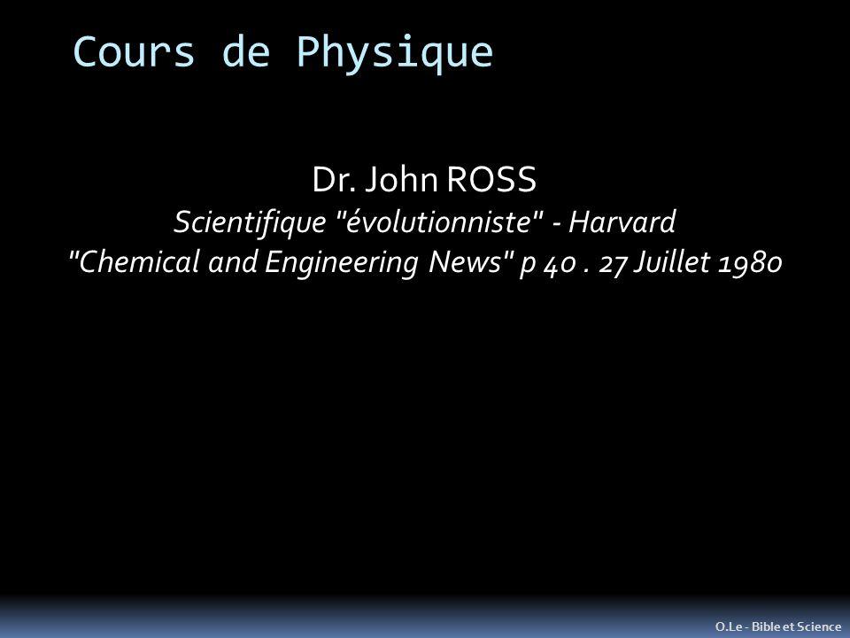 O.Le - Bible et Science Dr. John ROSS Scientifique