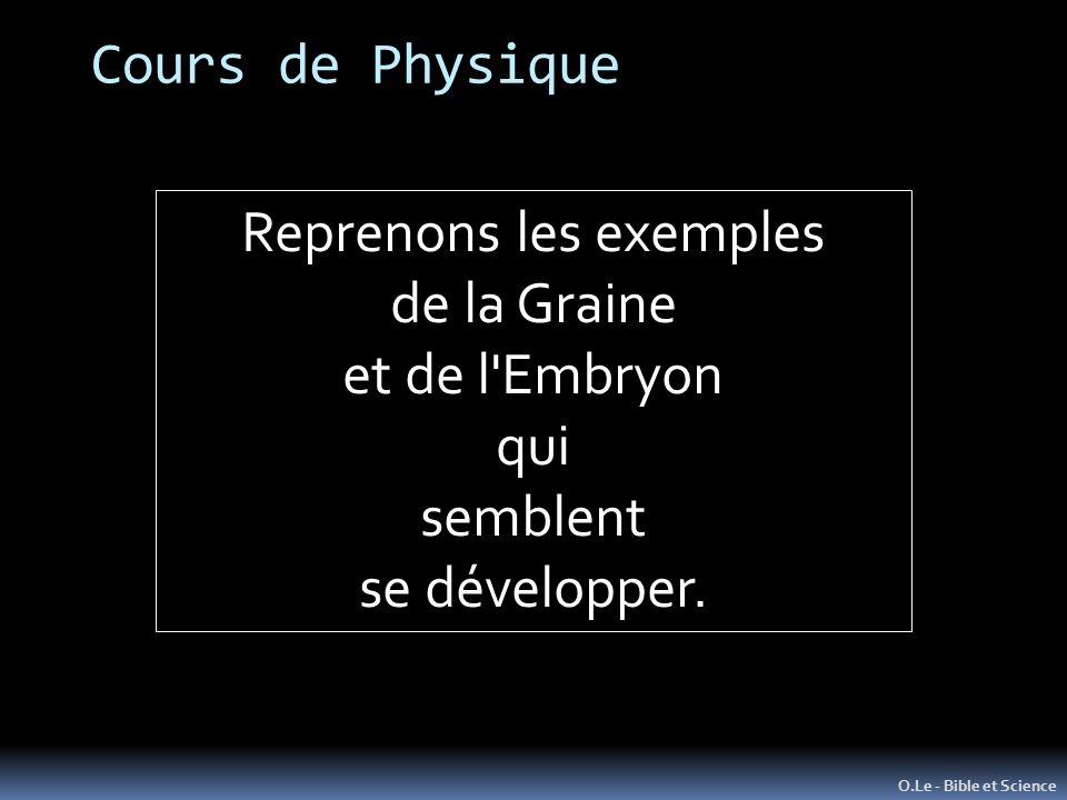 O.Le - Bible et Science Reprenons les exemples de la Graine et de l'Embryon qui semblent se développer. Cours de Physique