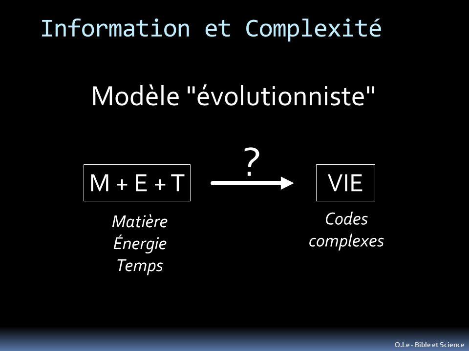 Information et Complexité O.Le - Bible et Science Modèle évolutionniste M + E + TVIE .