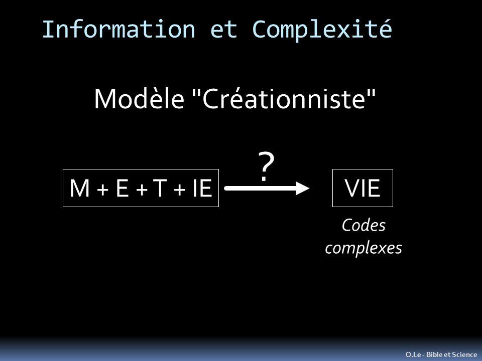 Information et Complexité O.Le - Bible et Science Modèle