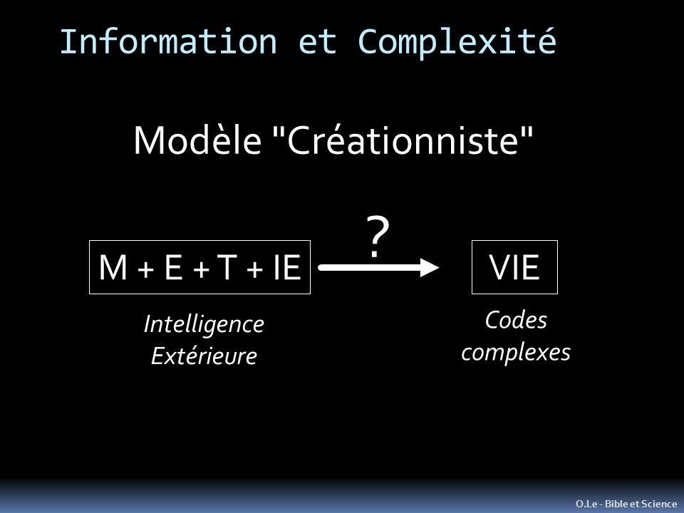 Information et Complexité O.Le - Bible et Science Modèle Créationniste M + E + T + IEVIE .