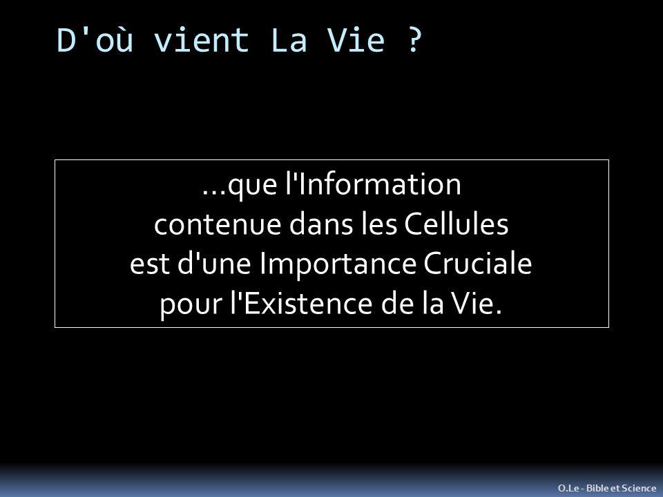 D'où vient La Vie ? O.Le - Bible et Science …que l'Information contenue dans les Cellules est d'une Importance Cruciale pour l'Existence de la Vie.