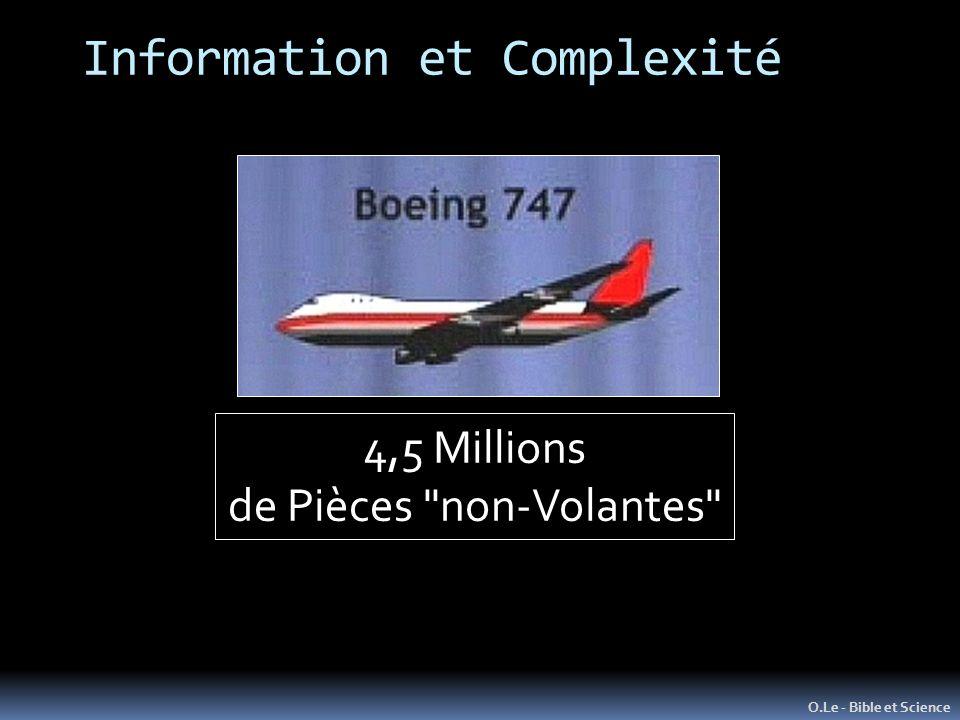 Information et Complexité O.Le - Bible et Science 4,5 Millions de Pièces non-Volantes
