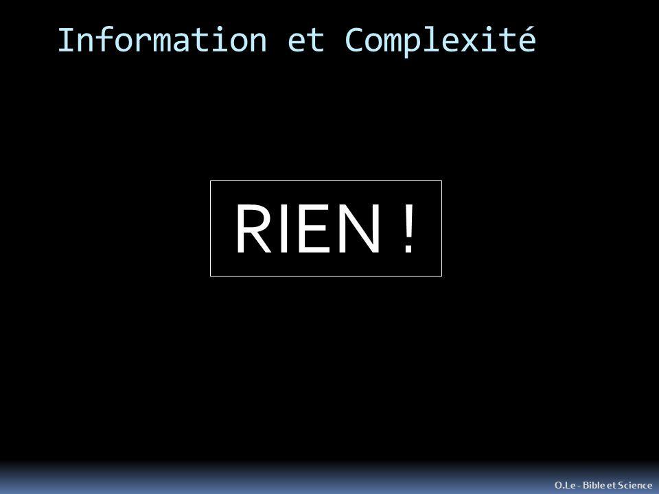 Information et Complexité O.Le - Bible et Science RIEN !