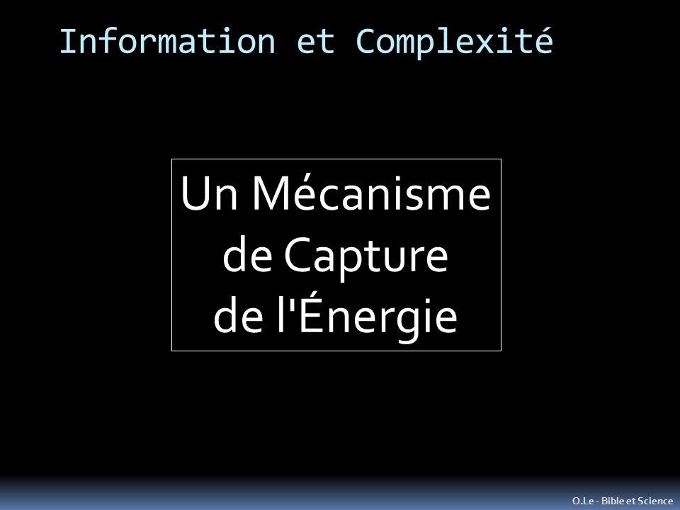 Information et Complexité O.Le - Bible et Science Un Mécanisme de Capture de l Énergie