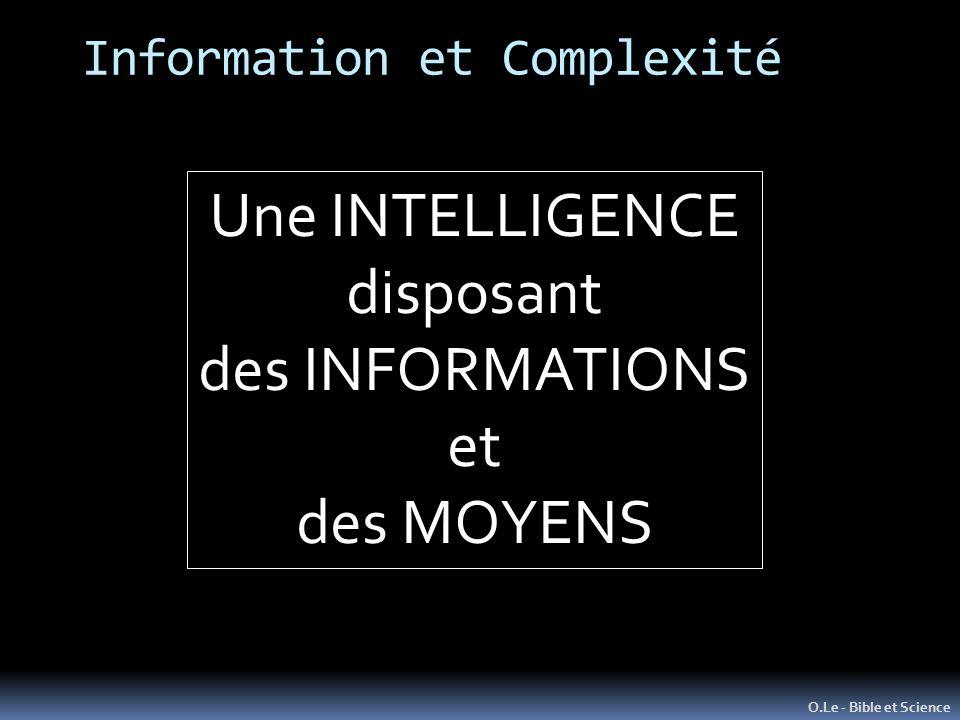 Information et Complexité O.Le - Bible et Science Une INTELLIGENCE disposant des INFORMATIONS et des MOYENS