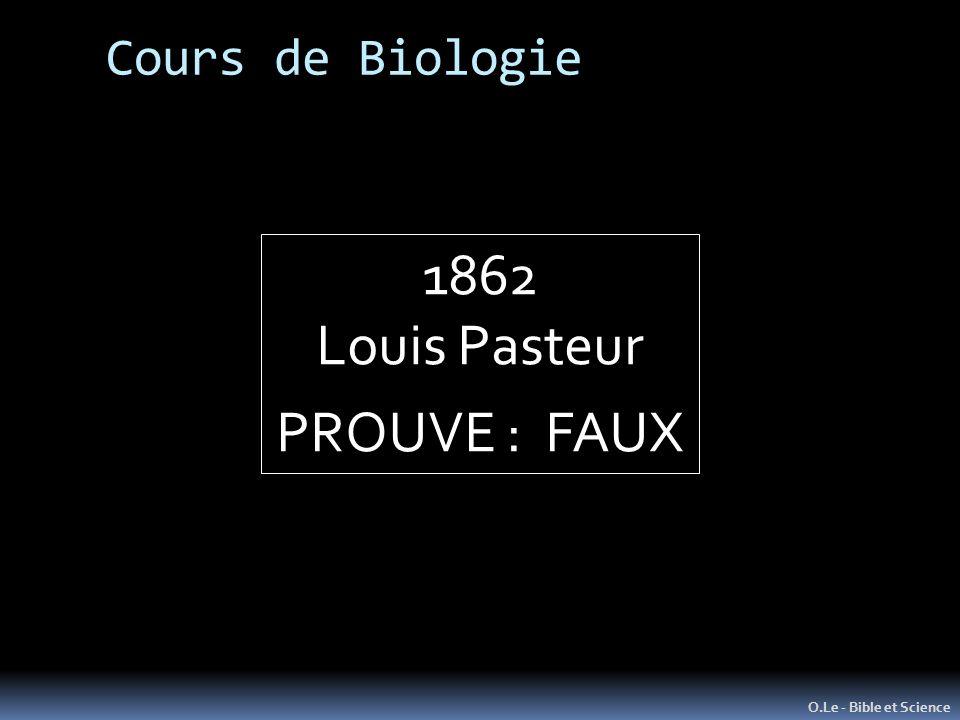 Cours de Biologie O.Le - Bible et Science 1862 Louis Pasteur PROUVE : FAUX