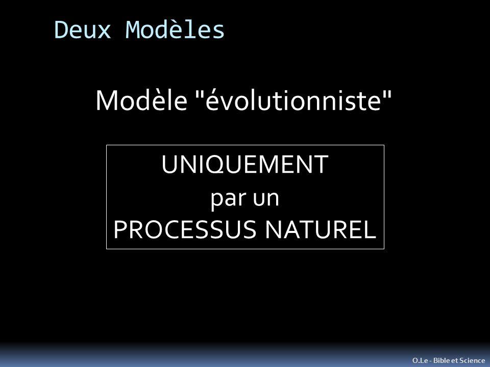 O.Le - Bible et Science Modèle évolutionniste UNIQUEMENT par un PROCESSUS NATUREL Deux Modèles