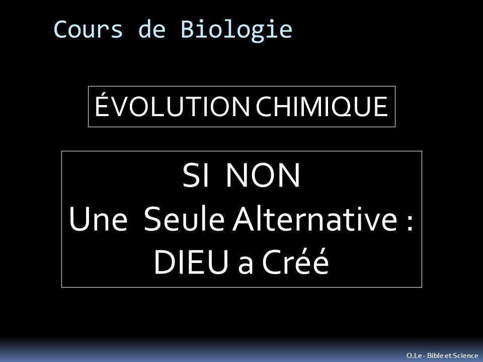 Cours de Biologie O.Le - Bible et Science ÉVOLUTION CHIMIQUE SI NON Une Seule Alternative : DIEU a Créé