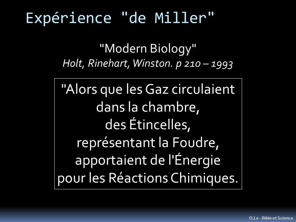 Expérience de Miller O.Le - Bible et Science Modern Biology Holt, Rinehart, Winston.
