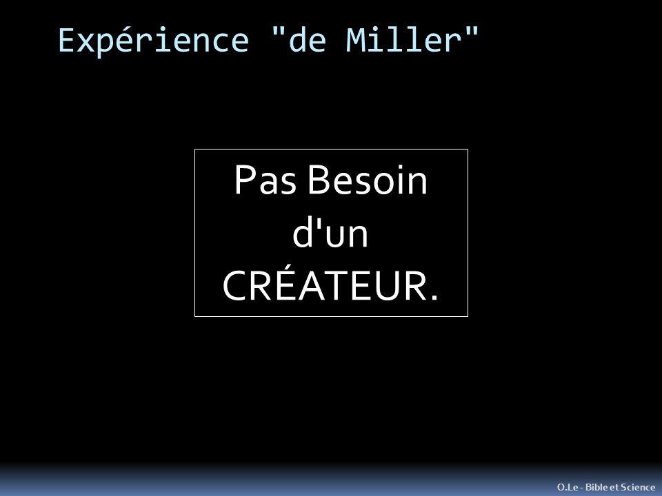 Expérience de Miller O.Le - Bible et Science Seulement EN APPARENCE…