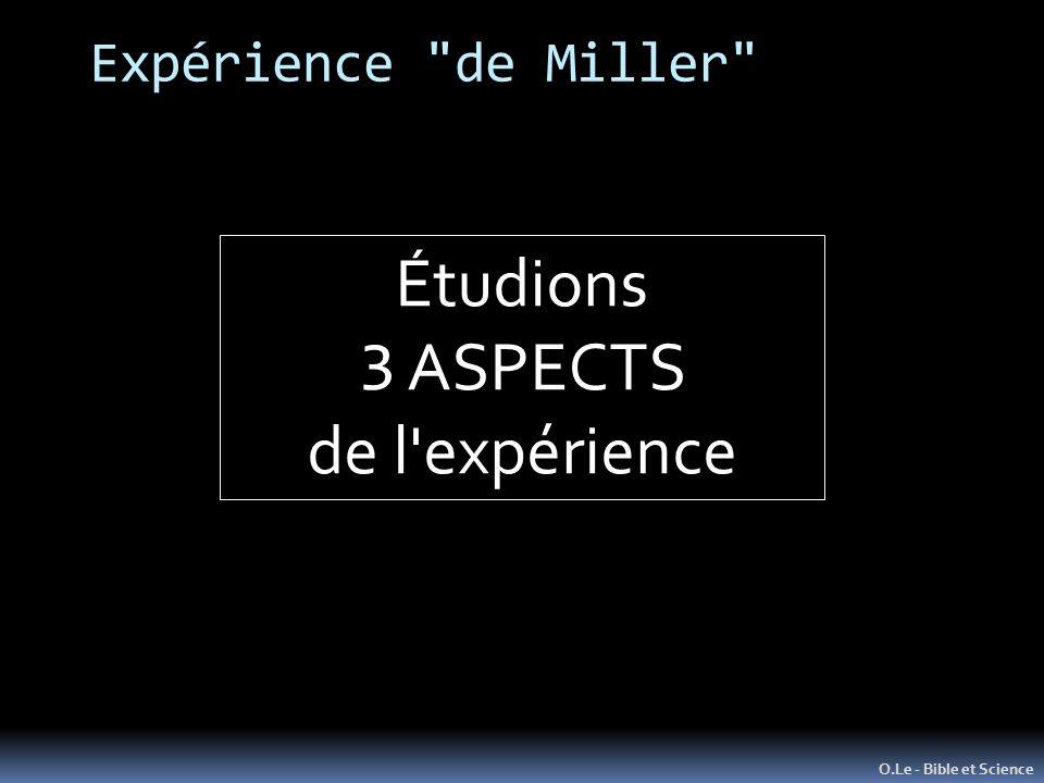 Expérience de Miller O.Le - Bible et Science Étudions 3 ASPECTS de l expérience