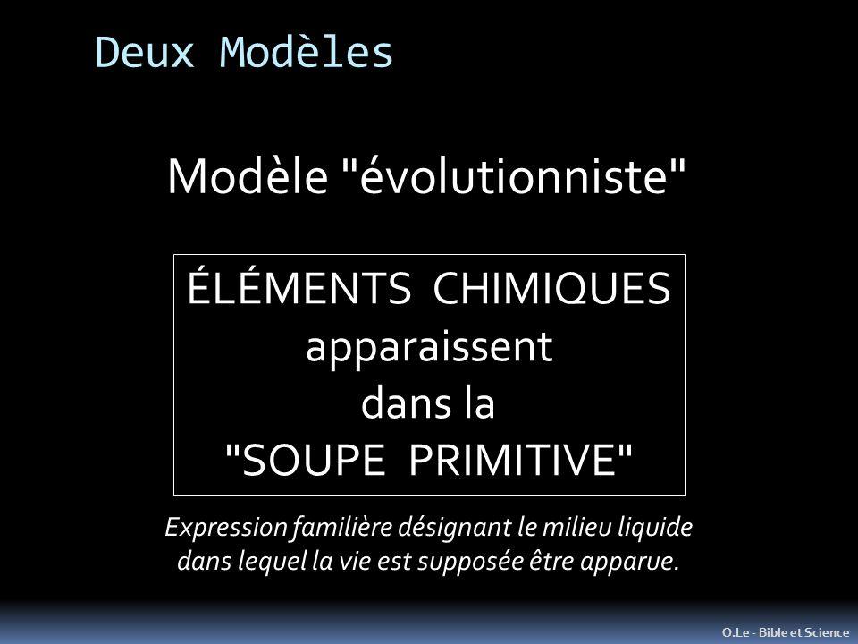 O.Le - Bible et Science Modèle évolutionniste ÉLÉMENTS CHIMIQUES apparaissent dans la SOUPE PRIMITIVE Deux Modèles Expression familière désignant le milieu liquide dans lequel la vie est supposée être apparue.