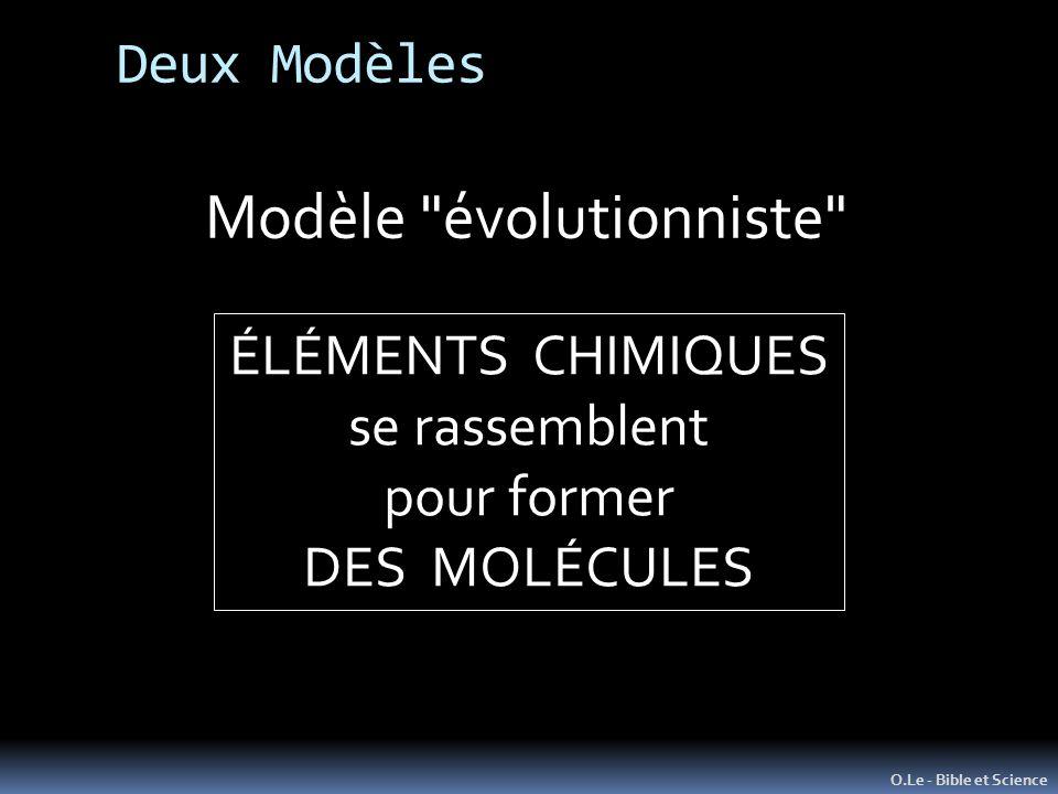 O.Le - Bible et Science Modèle évolutionniste ÉLÉMENTS CHIMIQUES se rassemblent pour former DES MOLÉCULES Deux Modèles