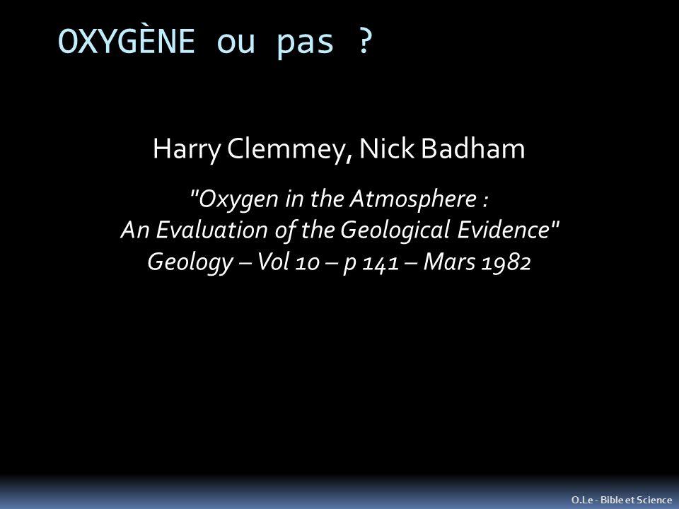 OXYGÈNE ou pas ? O.Le - Bible et Science Harry Clemmey, Nick Badham